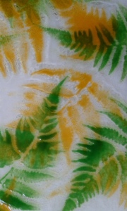 Picture glass and fern stenciled pattern. Two layers.